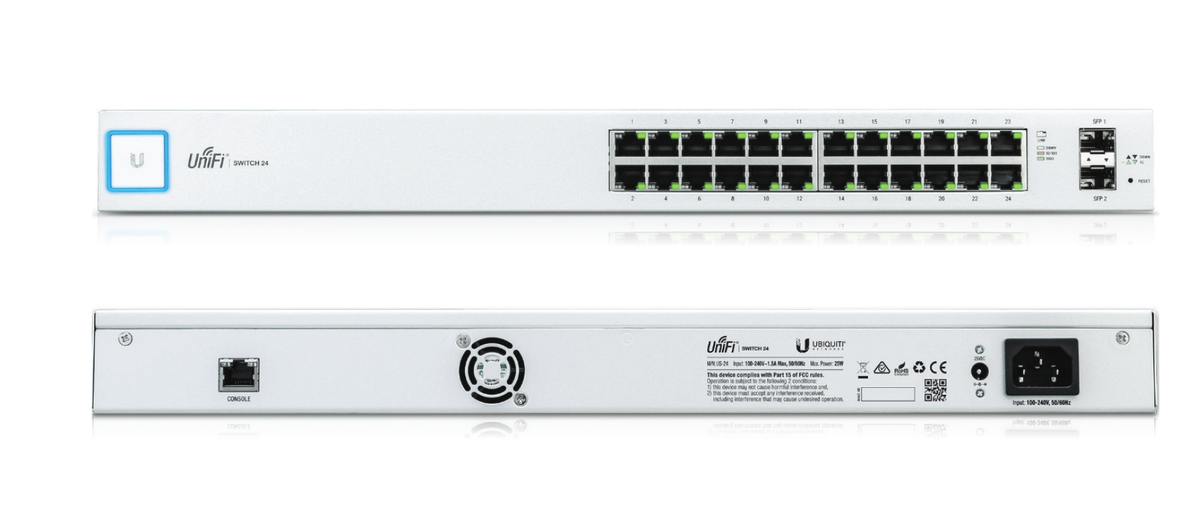 Ubiquiti Networks UniFi US-24 Managed Gigabit Ethernet (10/100/1000) 1U Silver,White network switch