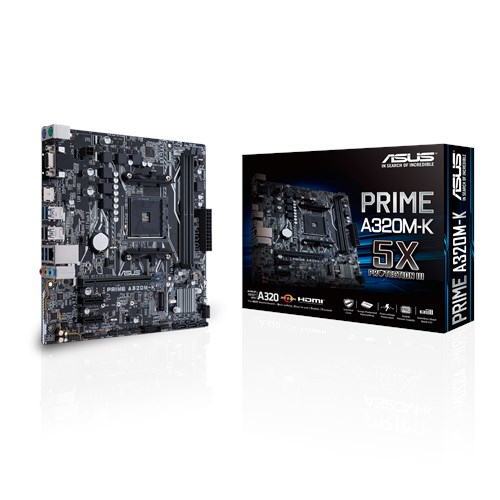 ASUS MB PRIME A320M-K motherboard Socket AM4 Micro ATX AMD A320