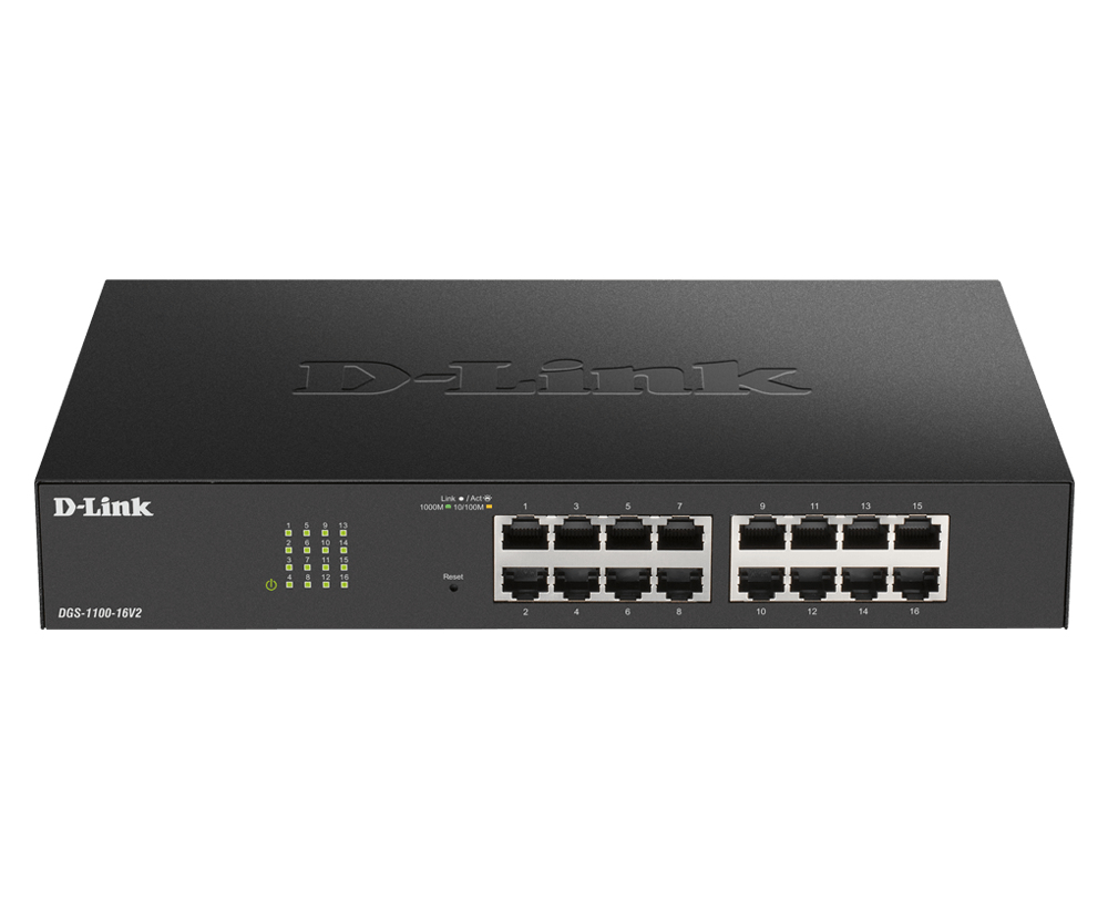D-Link DGS-1100-16V2 switch Gestionado Gigabit Ethernet (10/100/1000) Negro