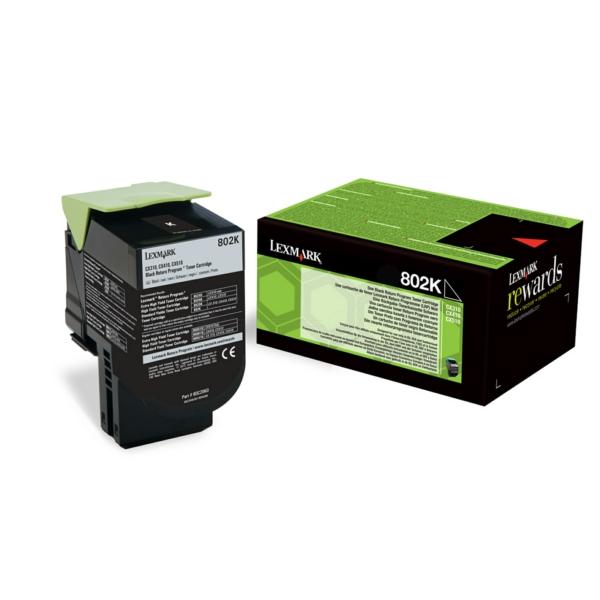 Lexmark 80C20K0 (802K) Toner black, 1000 pages