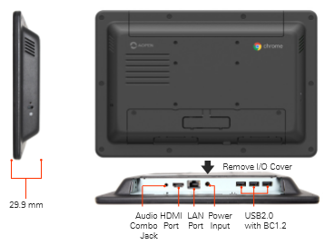 "AOPEN Chromebase Mini-10"" AliO Touch, Quad-Core Cortex-A17,16GB, Front Panel Water Resistant, Need CDM lic"