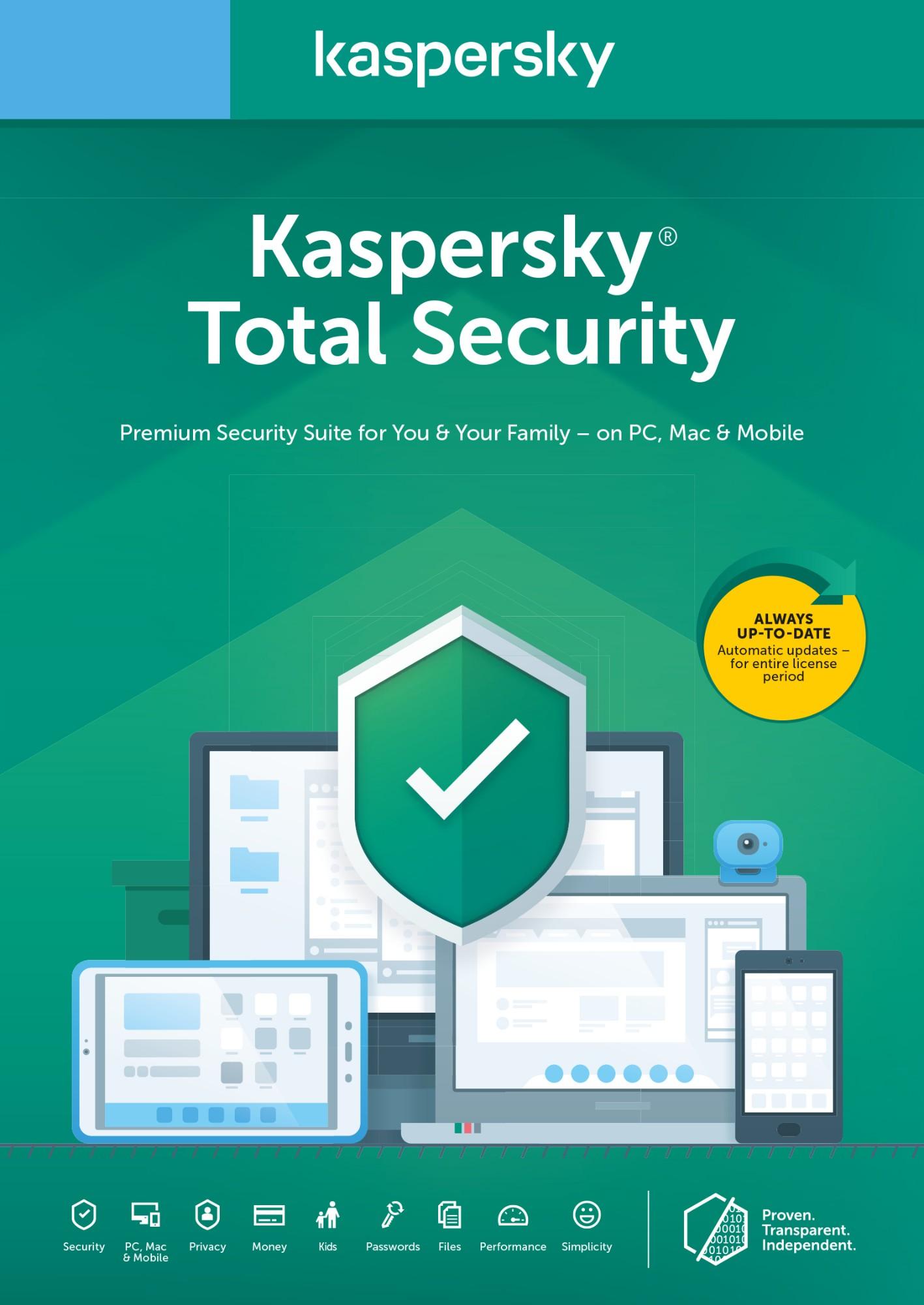 Kaspersky Lab Total Security 2020 1 licentie(s) 1 jaar Nederlands