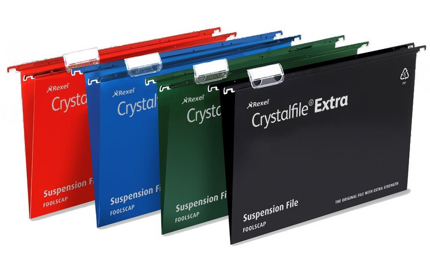 Rexel Crystalfile Extra A4 Suspension File 15mm Green 25