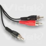 Videk Phono Plug to 2 x Phono Plug 3m 3m Phono Phono Black coaxial cable