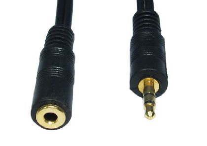 Cables Direct 2m 3.5mm, M - F audio cable Black