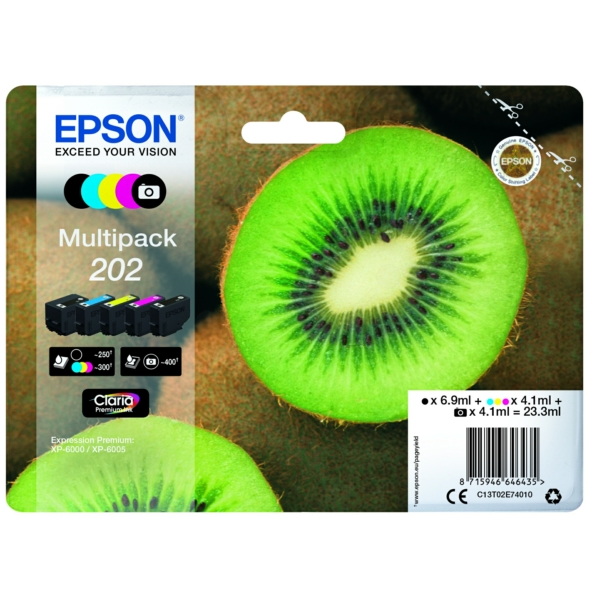 Epson C13T02E74010 (202) Ink cartridge multi pack, 6,9ml + 4x4,1ml, Pack qty 5