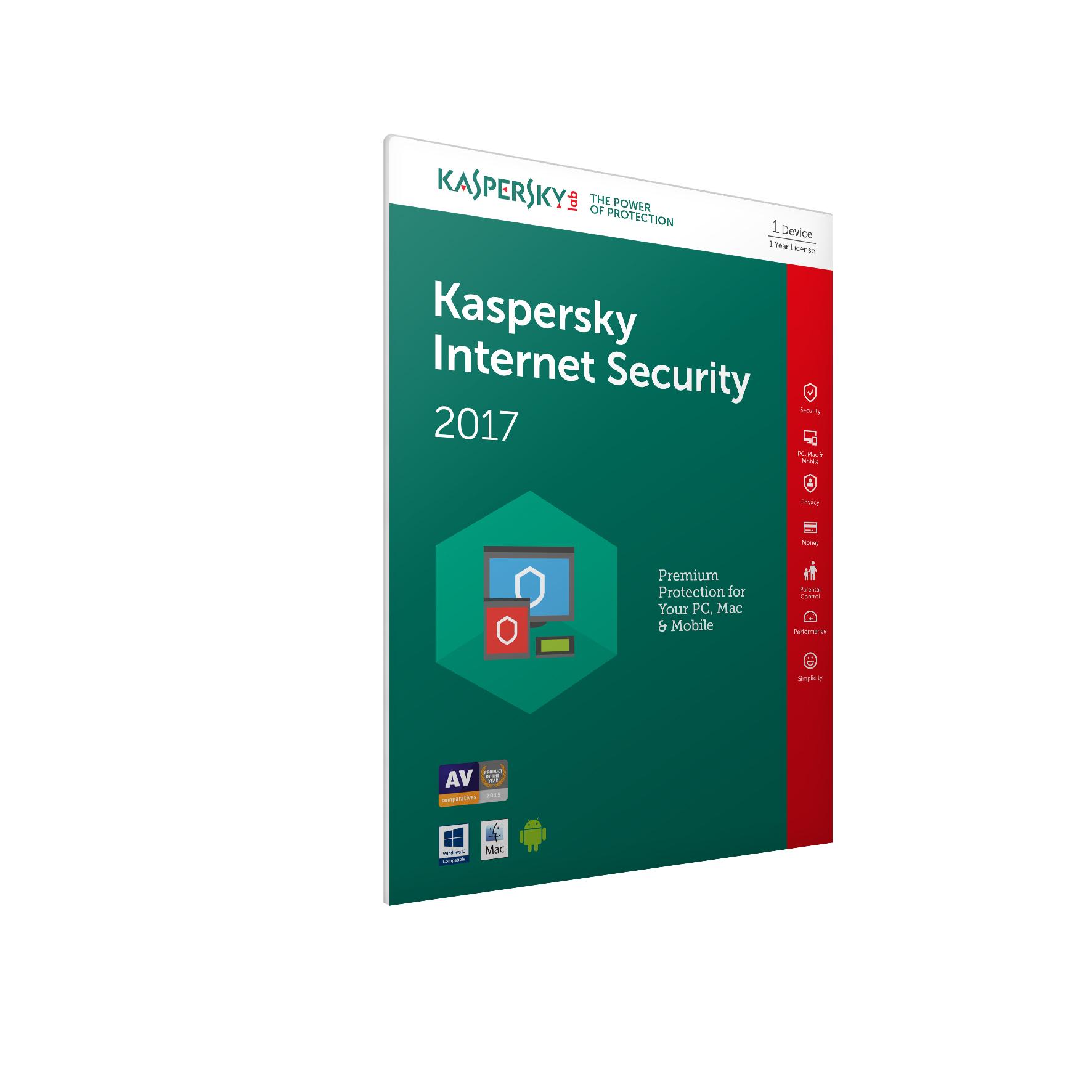 Kaspersky Lab Kaspersky Internet Security 2017 - 1 Devices 1 Year (Frustration Free Packaging)