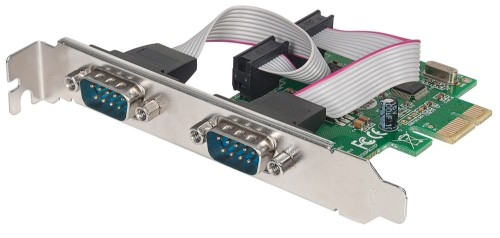 Manhattan Serial PCI Express Card, Two DB9 ports, x1 x4 x8 x16 lane buses, Standard/Low Profile PCI, Box