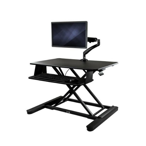 """StarTech.com Sit-Stand Desk Converter with Monitor Arm - 35"""" Wide Work Surface - For up to 26"""
