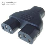 CONNEkT Gear Mains Power Splitter Adapter C14 Plug to 2 x C13 Sockets