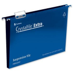 Rexel Crystalfile Extra Foolscap Suspension File 30mm Blue (25)