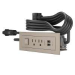 C2G Furniture Power Center with Power Switch, 2 Outlets and USB socket-outlet 2 x USB A + 2 x NEMA 5-15 Nickel