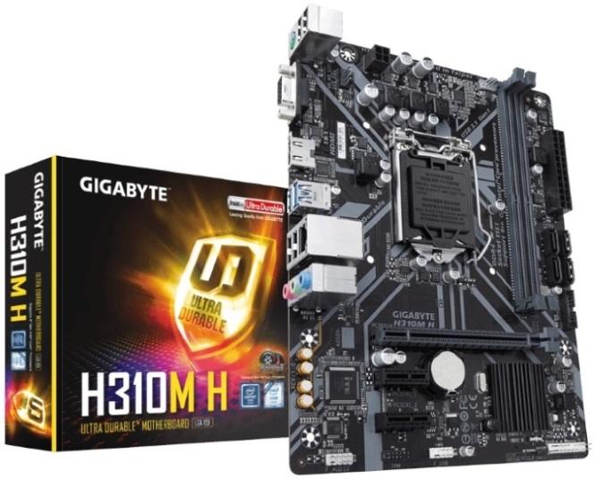 Gigabyte GA-H310M-H LGA1151 8Gen mATX MB 2xDDR4 3xPCIe VGA HDMI 4xSATA3 GbE LAN 4xUSB3.1 6xUSB2.0 ~GA-H310M-S
