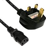 Cablenet 3m UK (5 Amp) - IEC C13 H05Z1Z1-F Black LSOH 1.0mm Power Lead