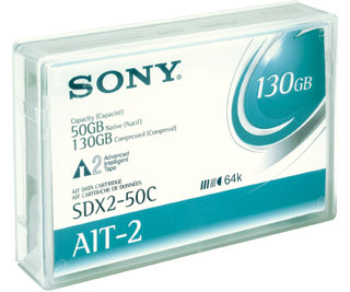 Ait 8mm Data Cartridge Sdx-250w Ait-2 50/130GB 230m Write Once With Barcode Label