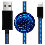 Generic Astrotek LED Light Up Visible Flowing USB Lightning Data Sync Charger Cable Blue Charging Cord for i
