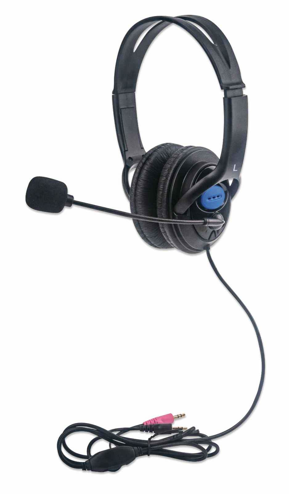 Manhattan Stereo Headset (Promo), Lightweight, adjustable microphone, in-line volume control, padded cloth ear cushions, two 3.5mm jack input plugs, cable 2m, Black, 3 year warranty, Box