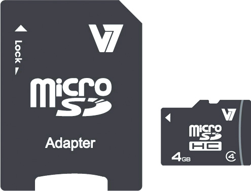 V7 4GB Micro SDHC Card Class 4 + Adapter