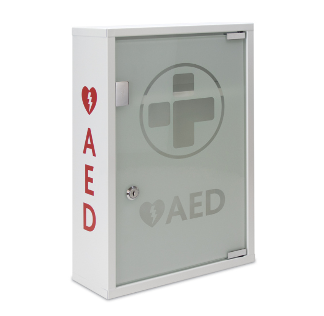Reliance Medical AED (ALARMED) Metal Wall Cabinet with Glass Door Lockable DD