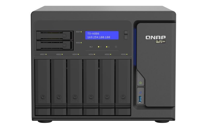 QNAP TS-h886-D1622 D-1622 Ethernet LAN Tower Black NAS