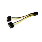 StarTech.com Cable Adaptador 15cm Alimentación SATA a Conector 6 Pines de Corriente de Tarjeta Gráfica PCI Express PCIe