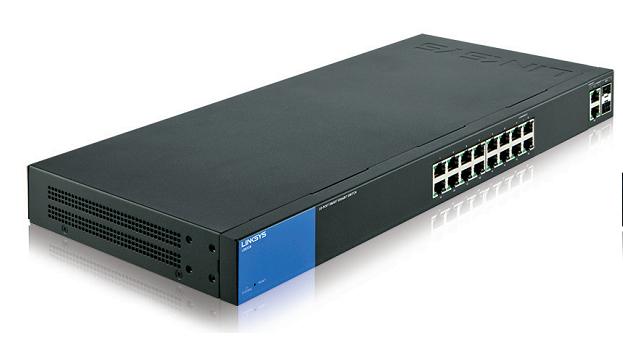 Linksys LGS318 Managed Gigabit Ethernet (10/100/1000) Black,Blue