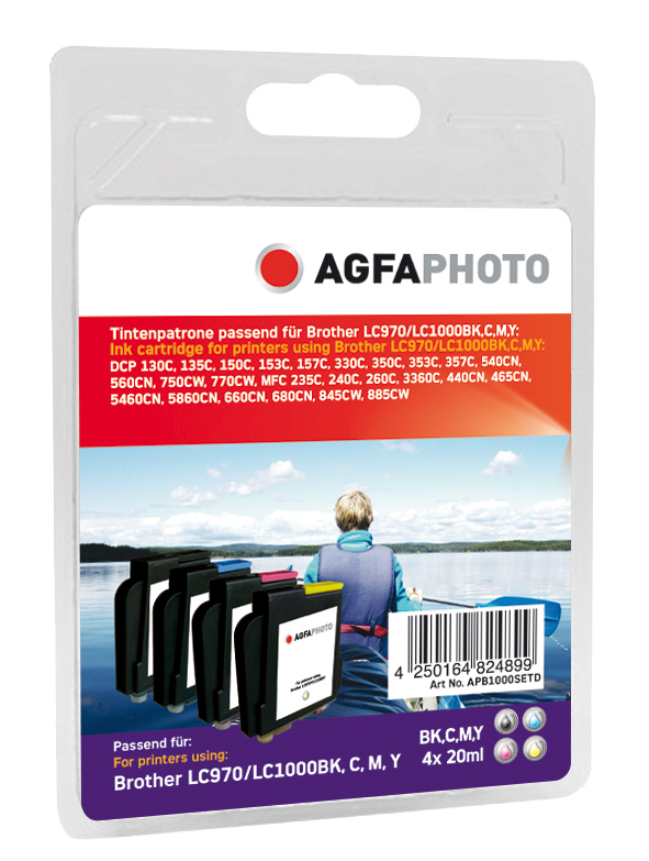 AgfaPhoto APB1000SETD Black, Cyan, Magenta, Yellow ink cartridge