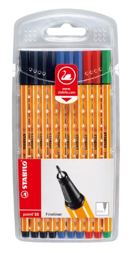 STABILO point 88 fineliner Black, Blue, Green, Red 10 pc(s)