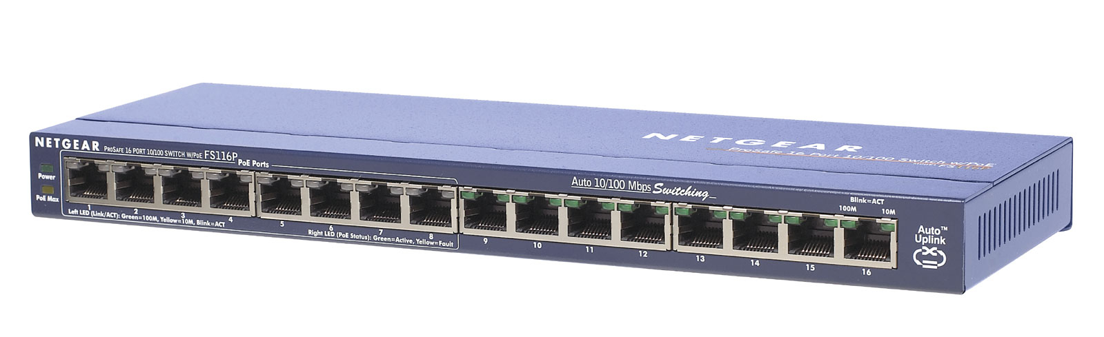 Switch Prosafe Fast Enet Fs116 16-port 10/100bt Autosensing With 8-port Power Over Ethernet