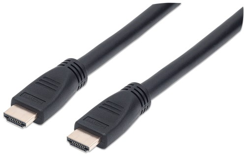 Manhattan HDMI In-Wall CL3 Cable with Ethernet, 4K, Male to Male, 10m, 4K@60Hz, HEC, ARC, 3D, In-Wall rated, Shielded, Black, Polybag