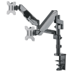"""Manhattan TV & Monitor Mount, Desk, Full Motion (Gas Spring), 2 screens, Screen Sizes: 10-27"""", Black, Clamp or Grommet Assembly, Dual Screen, VESA 75x75 to 100x100mm, Max 8kg (each), Lifetime Warranty"""