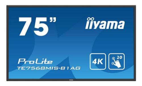 "iiyama ProLite TE7568MIS-B1AG 190.5 cm (75"") LED 4K Ultra HD Touchscreen Interactive flat panel Black"