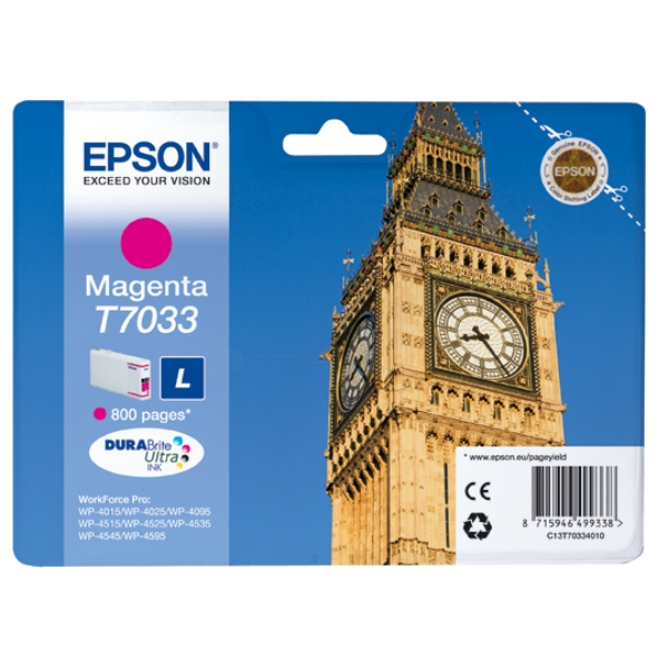 Epson C13T70334010 (T7033) Ink cartridge magenta, 800 pages, 10ml