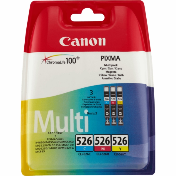 Canon 4541B006 (526) Ink cartridge multi pack, 450 pages, 9ml, Pack qty 3