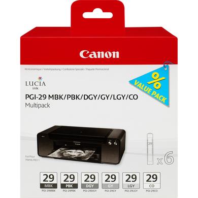 Canon PGI-29 MBK/PBK/DGY/GY/LGY/CO inktcartridge Zwart, Donkergrijs, Grijs, Licht Grijs, Mat Zwart, Foto zwart 36 ml