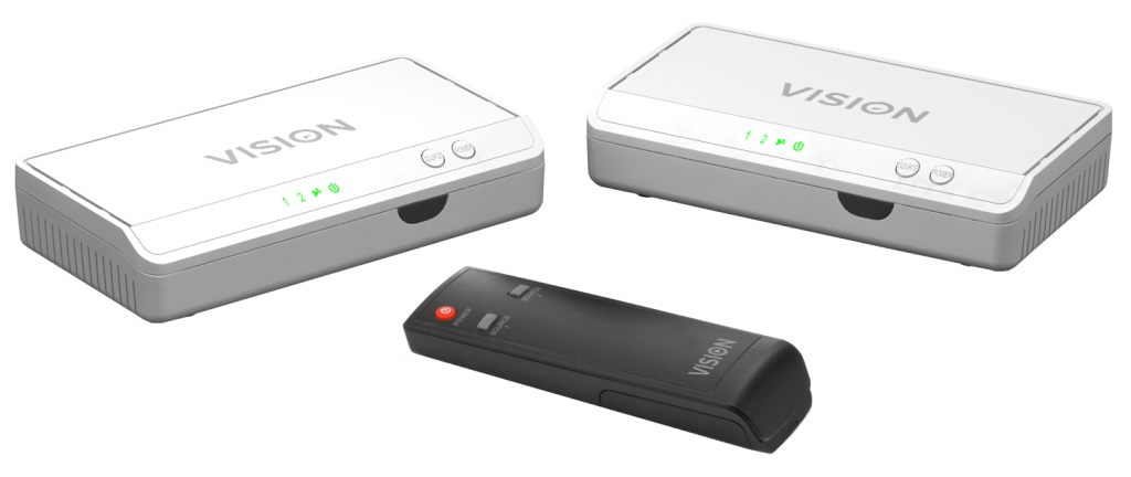 Vision TECHCONNECT HDMI-OVER-POWER TRANSMITTER AND RECEIVER WITH INTEGRATED HDMI SWITCHER AND IR PASS-THROU