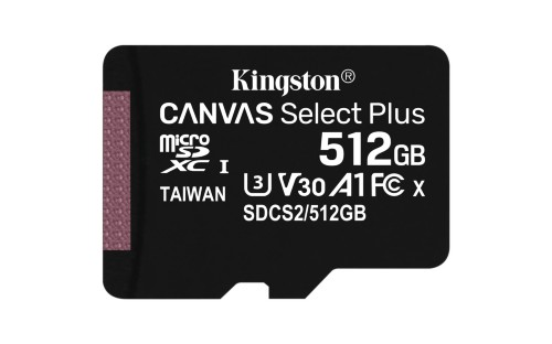 Kingston Technology Canvas Select Plus memory card 512 GB SDXC Class 10 UHS-I