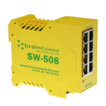 Brainboxes SW-508 Unmanaged network switch Fast Ethernet (10/100) Yellow network switch
