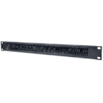 """Intellinet 19"""" Cable Entry Panel, 1U, with Brush Insert, Black"""