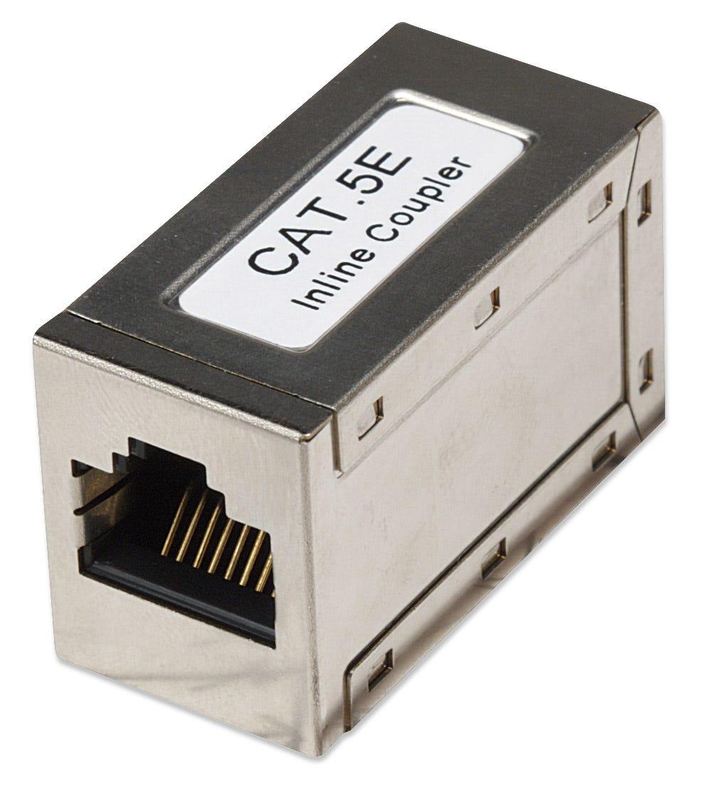 Intellinet Inline Coupler, Cat5e, FTP, Modular, 8P8C Female to 8P8C Female, Silver
