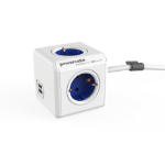 Allocacoc PowerCube Extended USB base múltiple 1,5 m 4 salidas AC Interior Azul, Blanco