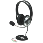 Manhattan Classic Stereo Headset, flexible microphone boom, padded cloth ear cushions, two 3.5mm plugs, Silver/Black, Box