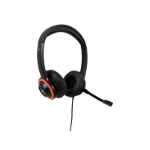 V7 Safesound Education k-12 Headset with Microphone, volume limited, antimicrobial, 2m cable, 3.5mm, Laptop Computer, Chromebook, PC - Black, Red