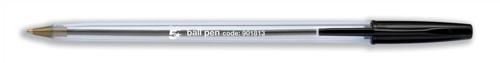 5 Star Clear Ball Pen Medium 1.0mm Tip 0.4mm Line Black [Pack 50]