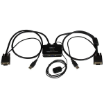 StarTech.com Switch Conmutador KVM de Cable con 2 Puertos VGA USB Alimentado por USB con Interruptor Remoto