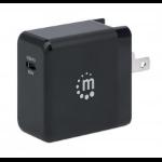 Manhattan Wall/Power GaN Charger (UK, USA and Euro 2-pin), USB-C Port, up to 65W / 3A, GaN (Galium Nitride) tech & PI chipset for maximum charging efficiency, Interchangeable Plugs, Black, Three Year Warranty, Box
