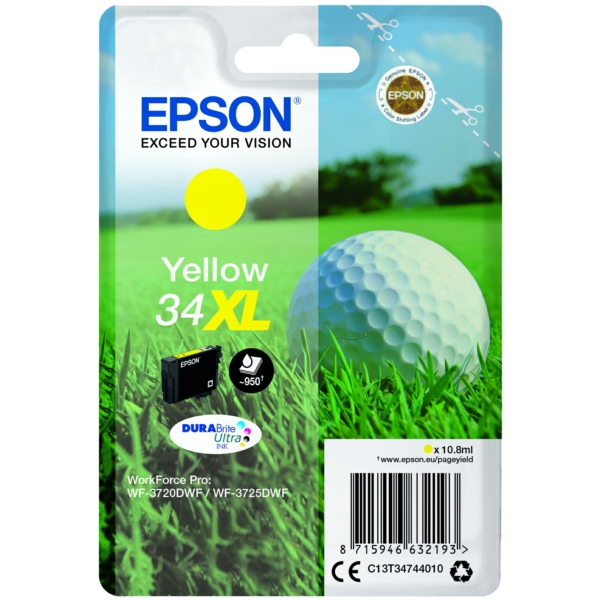 Epson C13T34744020 (34XL) Ink cartridge yellow, 950 pages, 11ml