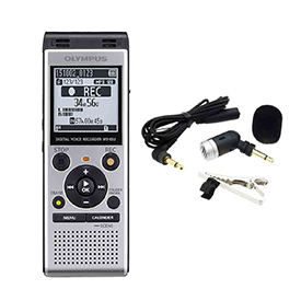 Olympus WS-852 + ME52 Uni-directional Microphone Audio Recorder with MP3 Player, MicroSD card, 4 GB memory,