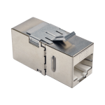 Tripp Lite Cat6a Straight-Through Modular Shielded In-Line Snap-In Coupler w/90-Degree Down-Angled Port (RJ45 F/F), TAA