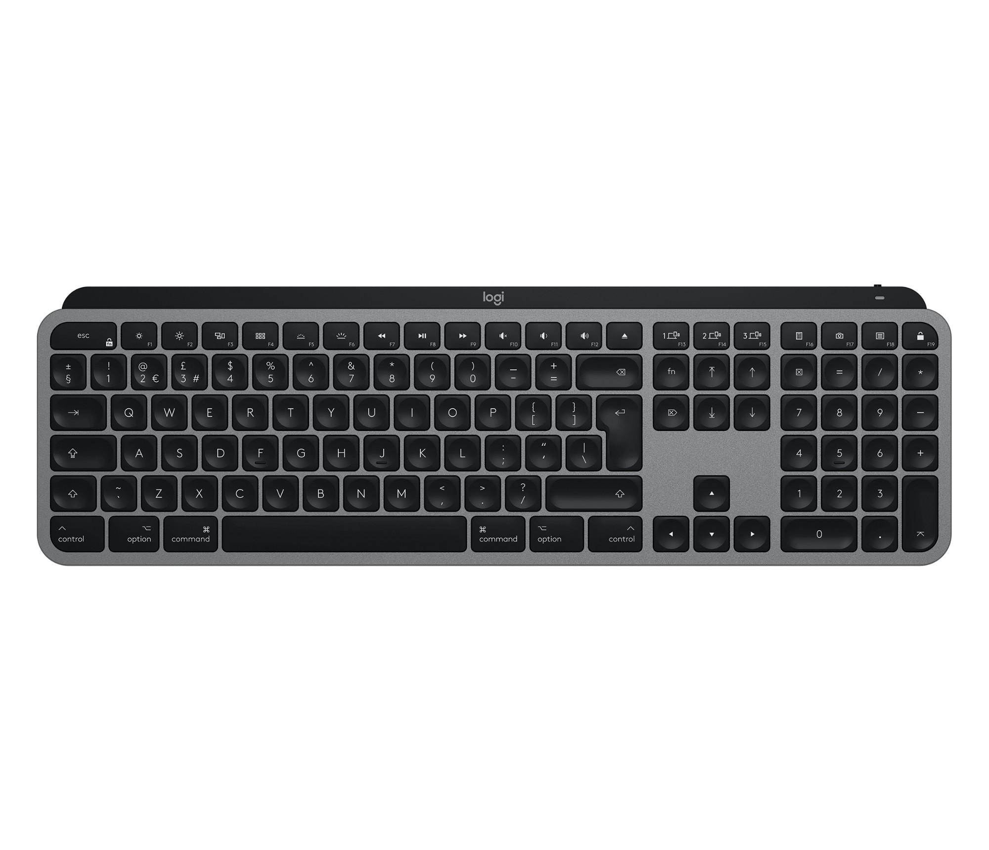 Logitech MX Keys teclado RF Wireless + Bluetooth QWERTY Pan Nordic Aluminio, Negro